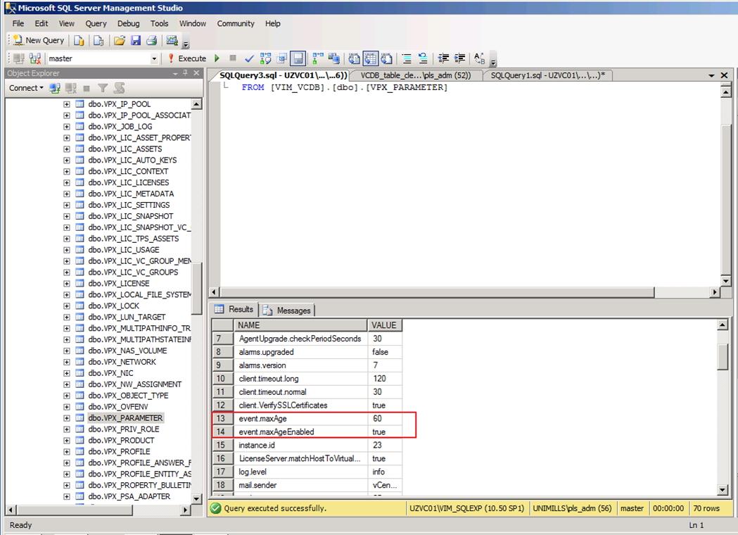 vCenter Server database, extreme maintenance