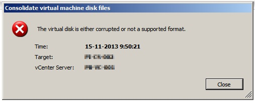 VM disk consolidation fails | Adventures in a Virtual World